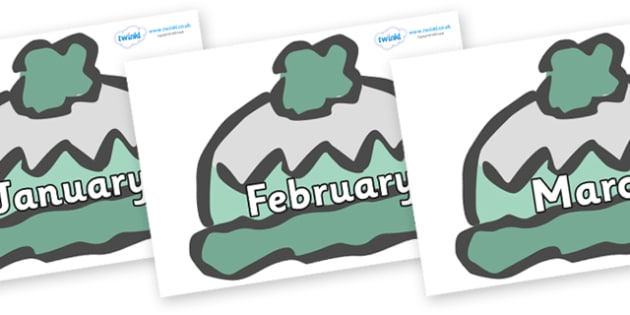 Months of the Year on Woolly Hats (Plain) - Months of the Year, Months poster, Months display, display, poster, frieze, Months, month, January, February, March, April, May, June, July, August, September