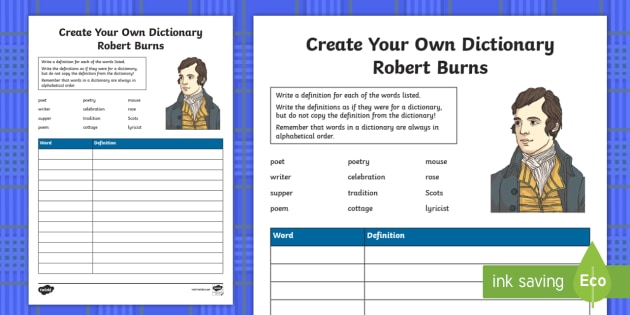 Robert Burns Key Vocabulary Create Your Own Dictionary - Scottish, Scotland, significant individuals, Robert Burns, National Poet, definitions, define, alpha
