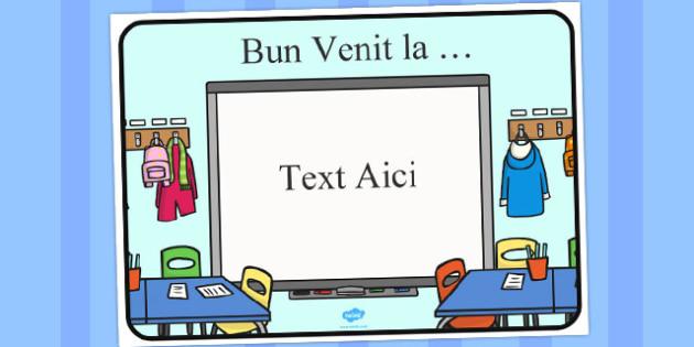 Bun venit... - Planșă editabilă - bun venit, prima zi, începe școala, prima zi de școală, banner, decor, materiale, materiale didactice, română, romana, material, material didactic