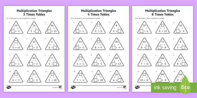 new multiplication triangles 3 4 and 8 times tables worksheets year 3. Black Bedroom Furniture Sets. Home Design Ideas