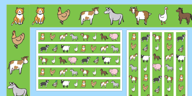 Farm Animal Display Borders - farm, animals, animal, horse, pig, dog, cat, display, borders, classroom border, border, goat, cow, chicken