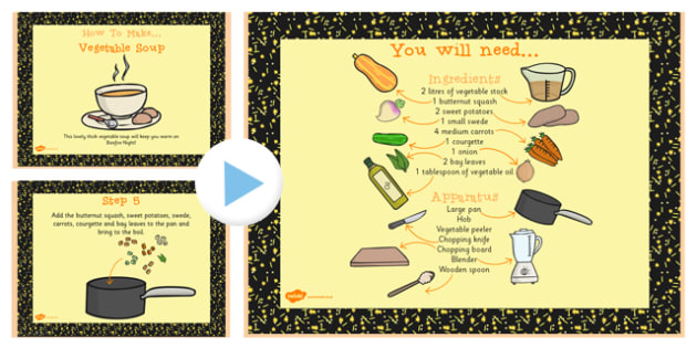 Vegetable Soup Recipe PowerPoint - powerpoint, recipe, soup