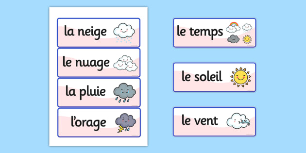 french weather vocabulary cards france languages eal vocab. Black Bedroom Furniture Sets. Home Design Ideas