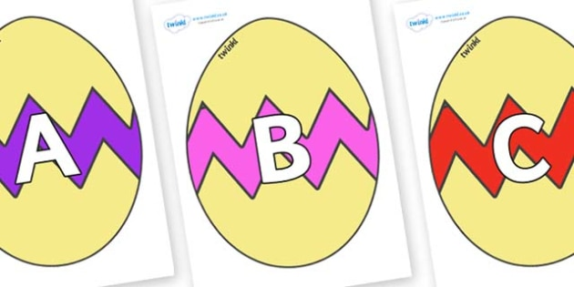 A-Z Alphabet on Easter Eggs (Cracked) - A-Z, A4, display, Alphabet frieze, Display letters, Letter posters, A-Z letters, Alphabet flashcards