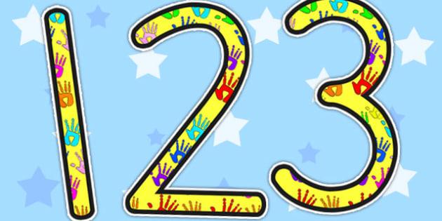 Handprint Themed Display Numbers - numbers, display numbers