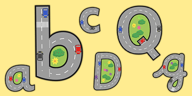Display Lettering & Symbols (Roads) - A-Z, A4, display, Alphabet frieze, Display letters, Letter posters, A-Z letters, Alphabet flashcards