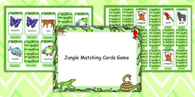 Jungle Themed Matching Cards Activity Flipchart - jungle, match