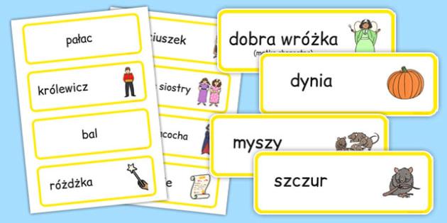 Karty ze słownictwem Kopciuszek po polsku - baśnie
