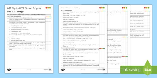AQA Physics Unit 4.1 Energy Student Progress Sheet - Student Progress Sheets, AQA, RAG sheet, Unit 4.1 Energy