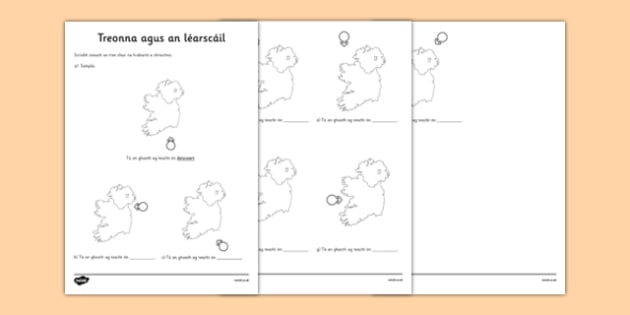 Irish Gaeilge Compass and Map Activity Sheet - directions, irish, gaeilge, worksheet, compass, map, weather