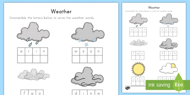 Weather Word Unscramble Weather Word Scramble Puzzle Mixed Up