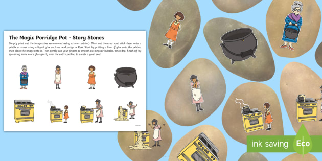 The Magic Porridge Pot Story Stone Image Cut Outs - story stone, cut outs