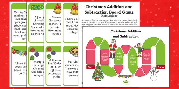 Year 1 Addition and Subtraction Christmas Themed Board Game - Christmas Wales, Christmas, Maths, Foundation Phase Profile, Addition, Subtraction, Word Problems, O