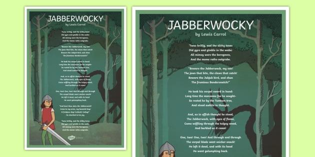 Jabberwocky Illustrated Poem Display Poster