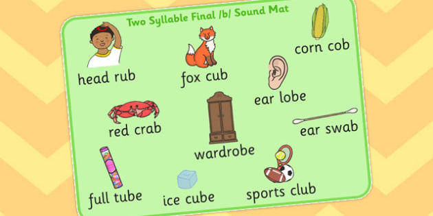 Two Syllable Final B Sound Word Mat - final, b, sound, word, mat