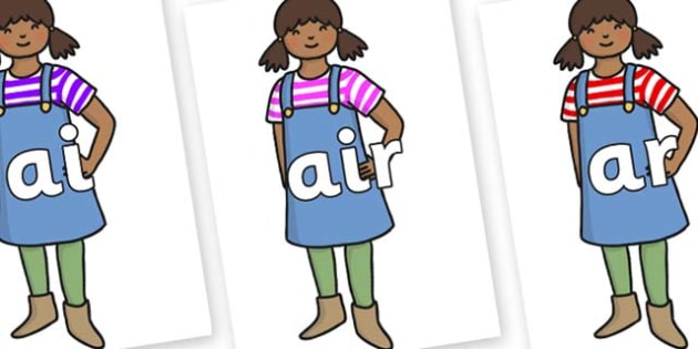Phase 3 Phonemes on Enormous Turnip Girl - Phonemes, phoneme, Phase 3, Phase three, Foundation, Literacy, Letters and Sounds, DfES, display