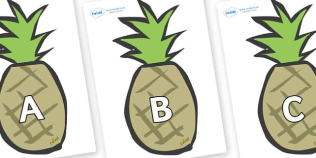 A-Z Alphabet on Pineapples - A-Z, A4, display, Alphabet frieze, Display letters, Letter posters, A-Z letters, Alphabet flashcards