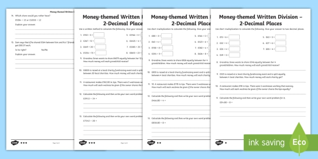 uks2 money themed written division 2 decimal place differentiated worksheets. Black Bedroom Furniture Sets. Home Design Ideas