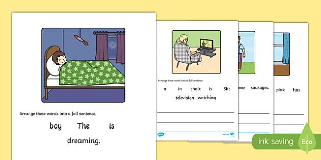 Simple Sentence Scramble Activity Sheet - simple sentence, scramble, unscramble, activity, simple, worksheet