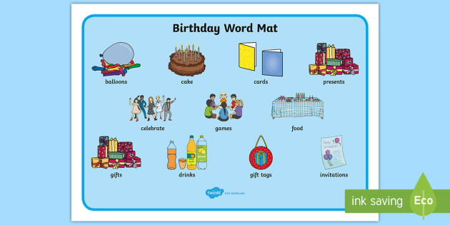 Birthday Word Mat
