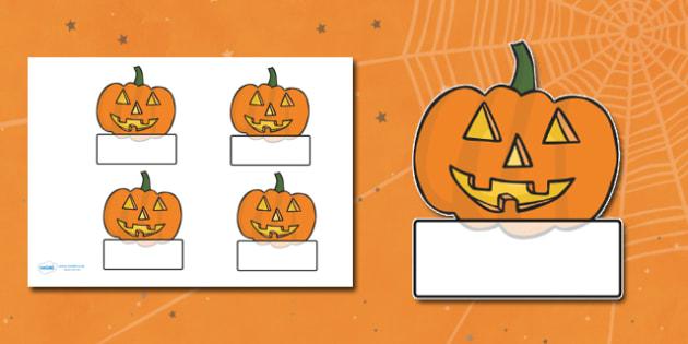 Editable Halloween Jack 'o' Lantern Pumpkin Self Registration - Halloween, pumpkin, witch, bat, scary, black cat, Self registration, register, editable, labels, registration, child name label, printable labels, mummy, grave stone, cauldron, broomstic