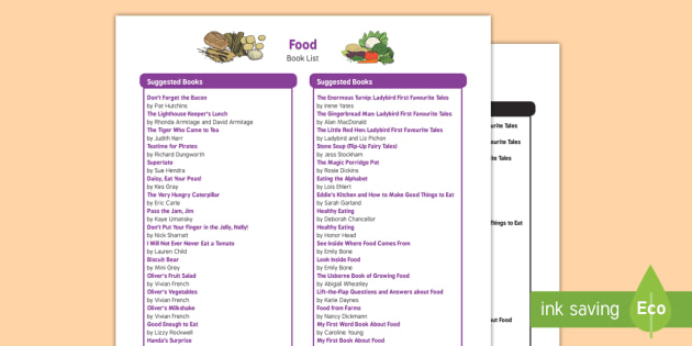 Food Themed Book List Eyfs Early Years Food Food Groups