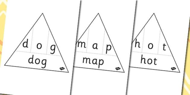 CVC Activity - cvc, activity, letters, letter, triangles, words