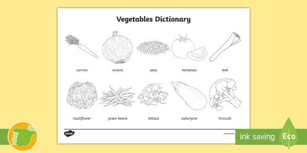 New A2 Diccionario Para Colorear La Verdura En Inglés Food English
