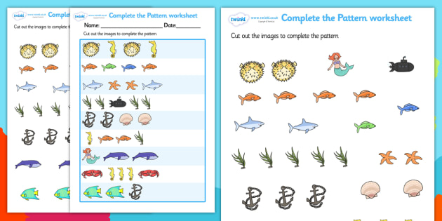 Under The Sea Complete The Pattern Worksheet  Under The Sea