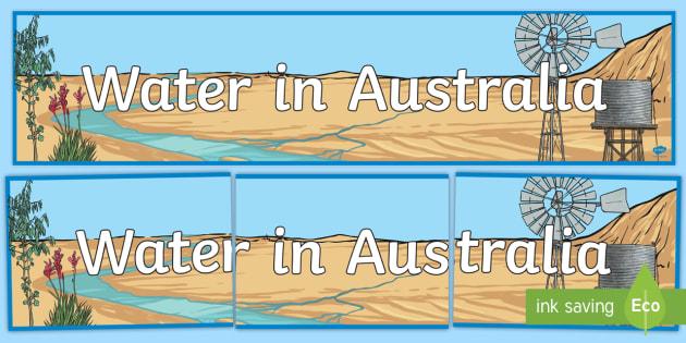Water in Australia Display Banner - Water in Australia, water, water use, water collection, river, lake, beach, water pollution,Australi