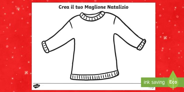Crea il maglione di Natale Attivita' - Decora il maglione natalizio, fogli da colorare, disegna, natalizio, natale, festivo, decorare
