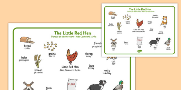 The Little Red Hen Word Mat Polish Translation - polish, little red hen, word mat, word, mat