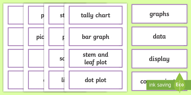 Data Display Word Cards - NZ Statistics (Back to School), graphs, display, charts, key maths vocabulary, technical maths vocab