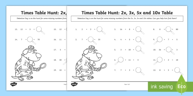 2, 3, 5 And 10 Times Tables Missing Numbers Worksheet