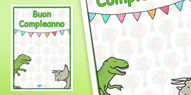 Italian Happy Birthday Posters Dinosaur Themed - italian, display