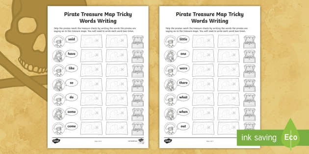 Pirate Treasure Map Phase 4 Tricky Words Writing Worksheets
