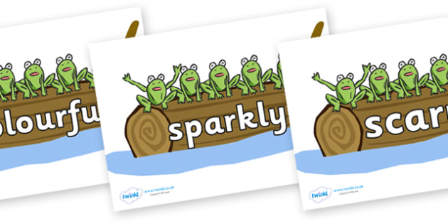 Wow Words on Five Speckled Frogs - Wow words, adjectives, VCOP, describing, Wow, display, poster, wow display, tasty, scary, ugly, beautiful, colourful sharp, bouncy