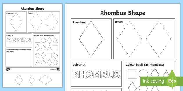 rhombus shape worksheet rhombus shape worksheet diamond. Black Bedroom Furniture Sets. Home Design Ideas