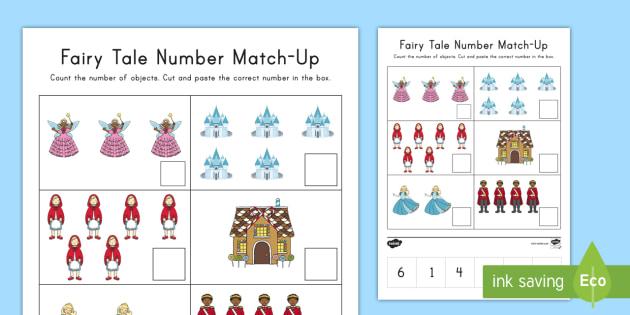 fairy tale number match up worksheet worksheet cutting. Black Bedroom Furniture Sets. Home Design Ideas