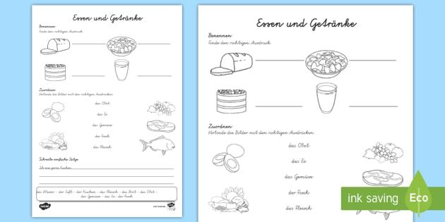 Essen und Getränke Arbeitsblatt - Trinken, international