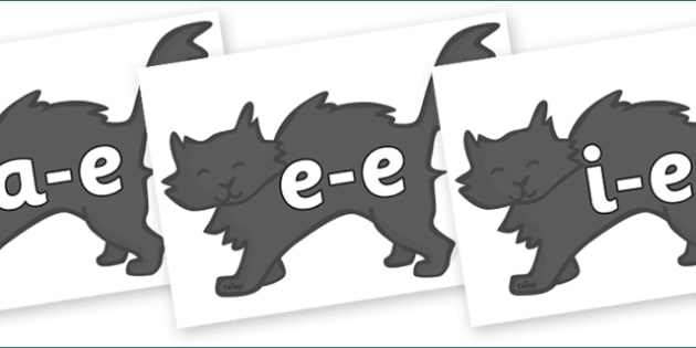 Modifying E Letters on Black Cats - Modifying E, letters, modify, Phase 5, Phase five, alternative spellings for phonemes, DfES letters and Sounds