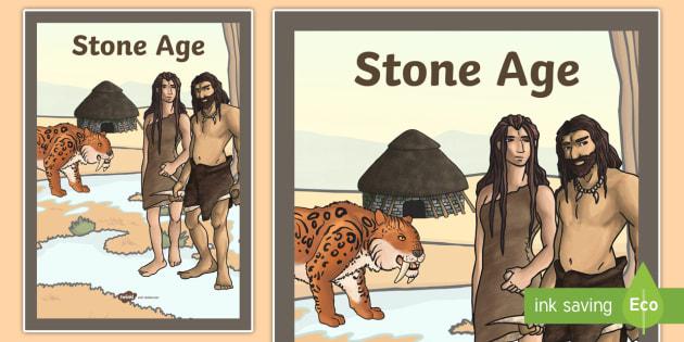 Stone Age Book Cover - stone age, history, ks2, folder cover