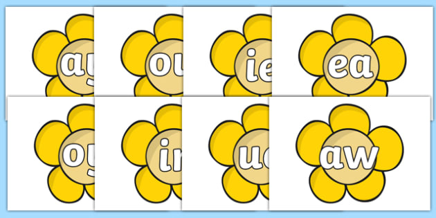 Phase 5 Phonemes on Yellow Flowers - phase five, phase 5, phonemes, yellow flowers