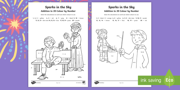 Sparks in the Sky Addition to 20 Colour by Number -  bonfire night, fireworks, guy fawkes, KS1, EYFS, Maths, adding, twinkl originals, colouring
