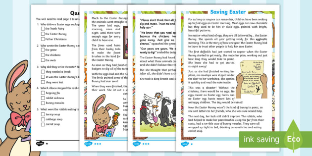 KS1 Saving Easter Differentiated Reading Comprehension Activity