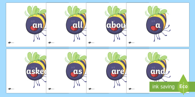 100 High Frequency Words on Bumblebee to Support Teaching on The Crunching Munching Caterpillar - High frequency words, hfw, DfES Letters and Sounds, Letters and Sounds, display words