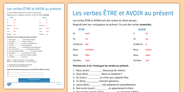 Tre And Avoir Present Tense Worksheet Activity Sheet French
