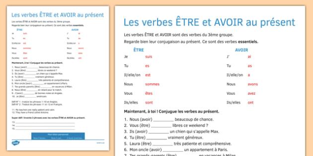 TRE And AVOIR Present Tense Worksheet Worksheet French