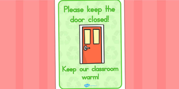 Please Close The Door Sign - signs, displays, visual, aid, poster
