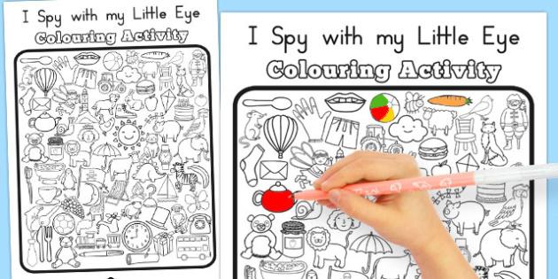 I Spy With My Little Eye Colouring Worksheet / Worksheet